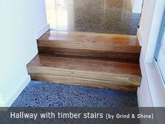 Polished concrete floors and wooden stairs . Wooden Flooring, Concrete Floors, Timber Stair, Wooden Stairs, Polished Concrete, Cement, Entryway Tables, House, Furniture