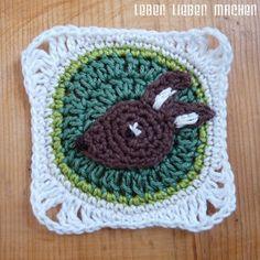 Crochet square motifs for the Deer, fox a bird.