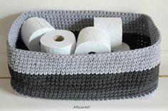 Grand panier rectangle tricolore au crochet