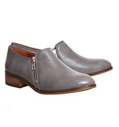 Office Lex Side Zip Flat Grey Leather - Flats