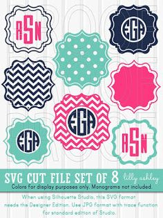 Monogram SVG Files Set of 8 cutting files SVG/PNG/jpg formats Commercial use chevron svg frame scallop monogram {no colors/letters included} Vinyl Monogram, Monogram Letters, Monogram Fonts Free, Free Monogram Designs, Free Svg Files Monogram, Circle Monogram, Vinyl Designs, Cricut Vinyl, Svg Files For Cricut