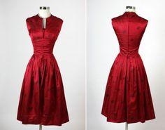 Vintage 1950s Harzfeld's Red Silk Cocktail Dress