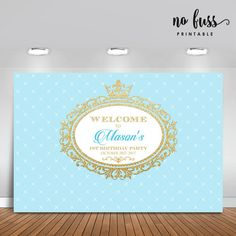 Crown Prince Backdrop Boy Party Banner Poster by NoFussPrintable