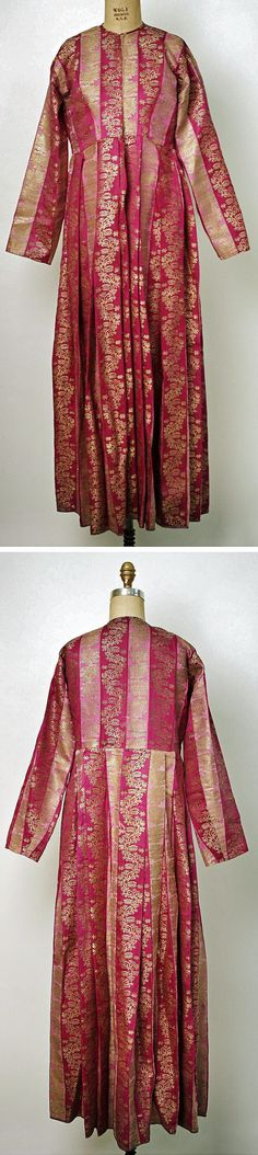 Urban-style brocaded silk dress from Central Anatolia.  Late-Ottoman, end of 19th century.  From an Armenian household.  Silk and metal thread. (Metropolitan Museum of Art, N.Y.).