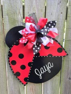 This adorable ladybug wooden door hanger is perfect for the front door or a girls room. Makes an awesome baby shower gift.  Wood measures