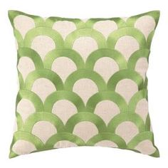 """Bring an eye-catching pop of pattern to your bed or sofa with this stylish pillow from D.L. Rhein.   Product: PillowConstruction Material: 100% LinenColor: Avocado and whiteFeatures:  Insert includedD.L Rhein original design Dimensions: 16"""" x 16""""Cleaning and Care: Spot clean"""