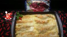 Canelone de carne seca, creme de abóbora,queijo coalho gratinado no pirão de leite - Cozinha Simples da Deia