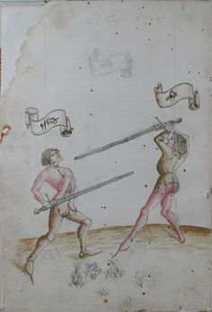Codex Danzig (Codex 44.A.8), 1452. Two fencers in Pflug (left) and Ochs (right). These are two of main stances in Liechtenauer's longsword system.