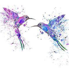 'Hummingbirds in love' by Rosaliartbook Hummingbird Tattoo Watercolor, Hummingbird Art, Watercolor Bird, Watercolor Illustration, Watercolor Animals, Geometric Hummingbird Tattoo, Mutterschaft Tattoos, Feather Tattoos, Body Art Tattoos