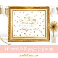 Twinkle Little Star How We Wonder What You Are - Printable Gender Reveal Sign - Gold Glitter Blush Pink Baby Blue ★ RE-COLOR/RE-SIZE: https://www.etsy.com/listing/235764069/ ★ PRINTING: https://www.etsy.com/listing/209879690/ ★ RE-COLOR AND PRINT: