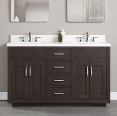 "60"" and up Vanity - Fairmont Designs - Fairmont Designs Fairmont Designs, Ceramic Undermount Sink, Veneer Door, Styling Stations, White Oak, Polished Chrome, Double Vanity, Master Bathroom, White Ceramics"