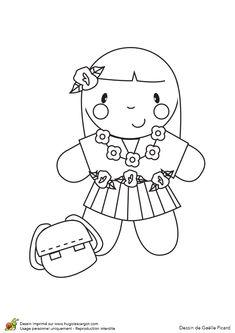 La poupée rentrée des classes vêtue à la tropicale, à colorier Free Printable Coloring Pages, Free Printables, Marius, Charlie Brown, Hello Kitty, Snoopy, Artists, Illustration, Fictional Characters