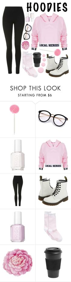 """Pink Hoodie"" by liliberczes ❤ liked on Polyvore featuring Essie, Local Heroes, Topshop, Dr. Martens, Hue, Ballard Designs, Homage, Nails Inc., BackToSchool and Pink"