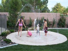 Becky Hanson backyard splash pad! No up keep. Small footprint. Cheaper than a pool. Safer than a pool