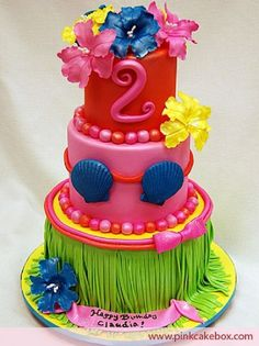 Luau Birthday Cake by Pink Cake Box in Denville, NJ. Luau Birthday Cakes, Luau Cakes, Party Cakes, Birthday Parties, Birthday Ideas, Birthday Design, Hawaiian Luau Party, Hawaiian Birthday, Summer Birthday