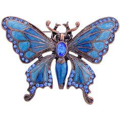 Vintage Style Blue Enamel & Sapphire Butterfly Brooch