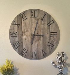 "Large Reclaimed Pallet Wood Clock 20""-30"""