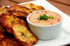 With Love, Mags: Fried Plantain Bananas (Patacones) with Spicy Dipping Sauce