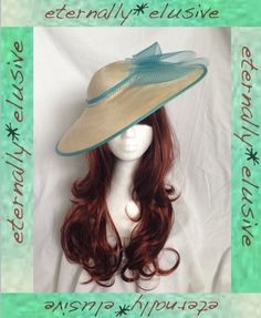 PETER BETTLEY Cream Turquoise Tilt Hatinator Occasion Hat Wedding Races Ladies S