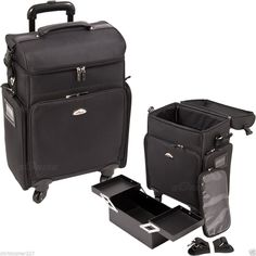 c3136afa677 Salon Trolley Bag On Wheels Rolling Black Supply Makeup Hairstylist Case  Laptop  Sunrise http