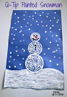 Q-tip Painted Snowman Craft - such a fun winter craft for kids. They love painting with q-tips!
