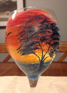 Hand-painted wine glass - Sunset on Etsy, $24.00