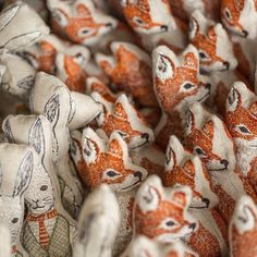 Patiently awaiting their new homes  #coralandtusk #embroidered #fox #rabbit #pocketdolls  Photo by @katelaceyphoto www.coralandtusk.com