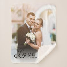 #Personalized Wedding Photo Custom Love Script Text Sherpa Blanket - #bride gifts #bridal ideas unique personalize