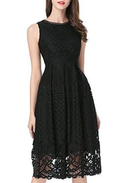 VELLASR Womens Fashion Sleeveless Lace Fit Flare Elegant Cocktail Party Dress Large L0201 Black *** Read more  at the image link. (Note:Amazon affiliate link)