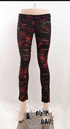 Leggings Leggins Legging Loch Punk Rave schwarz-rot Visual Kei Darkness Gothic X