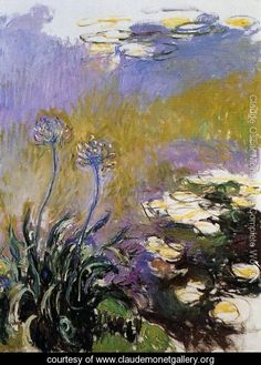 The Agapanthus - Monet, Claude (French, 1846 - Fine Art Reproductions, Oil Painting Reproductions - Art for Sale at Bohemain Fine Art Claude Monet, Monet Paintings, Landscape Paintings, Artist Monet, Art Sur Toile, Impressionist Paintings, Oil Painting Reproductions, Renoir, Oeuvre D'art