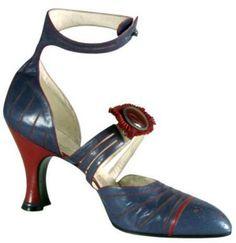 Art Déco - Escarpins à Bride Cheville - Cuir Bleu et Bordeaux - Hellstern & Sons - 1920-28