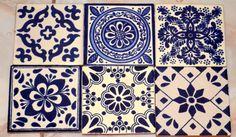 "12 Mexican Talavera tiles hand-painted 4 ""X - Murales Pared Exterior Mexican Tile Kitchen, Mexican Tiles, Julie's Kitchen, Kitchen Backsplash, Country Kitchen, Kitchen Ideas, Vitromosaico Ideas, Decor Ideas, Blue White Bathrooms"