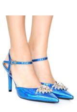 Scarpin Salt Alto Azul Marinho Verniz Bico Fino Sola Vermelh