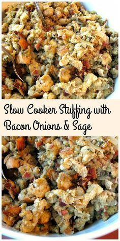 Slow Cooker stuffing loaded with bacon, sauteed onions, and sage. Save room in your oven this Thanksgiving by making your stuffing easily in your slow cooker. #Thanksgiving #sidedishes #slowcooker #stuffing #bacon #Thanksgivingrecipes
