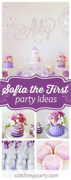 Take a look at this gorgeous Sofia the First birthday party. The floral birthday cakes are amazing!! See more party ideas and share yours at CatchMyParty.com