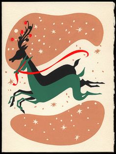 Vintage Silk Screened Christmas Card A 'Country Cousin' original, Hand Screened, Lake Placid, New York
