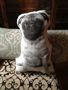 Ollie the Beige Pug Pillow Forward Facing by darlingoctopus, $28.00