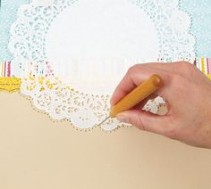 Technique...Using a paper Doily as a stitching Template. As seen in the May/June 2012 Creating Keepsakes Magazine