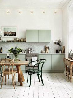 Light green kitchen, thonet, emma persson-lagerberg