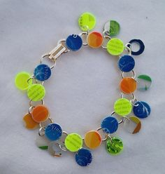 Neon Yellow Blue and Green Recycled Starbucks by JustPlainJane, $15.00
