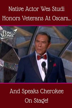 Native Actor Wes Studi Honors Veterans At Oscars…And Speaks Cherokee On Stage! Native American Movies, Native American Cherokee, Native American Tribes, Native American History, American Pride, American Indians, Cherokee Indian Women, American Art, American Quotes