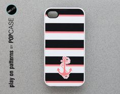 iphone 4 Case - iphone 4 cover - plastic or silicone rubber - nautical anchor pattern. $14.95, via Etsy.