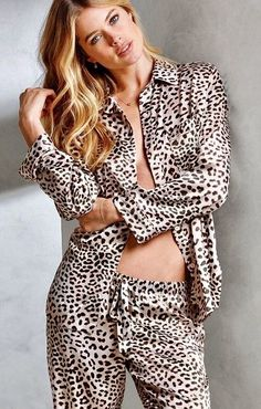 Victoria s Secret  After-Hours Satin Pajama (in blk white leopard) Lingerie 01c4b8c78