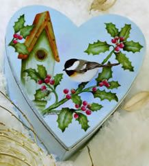"""Chickadee Heart Box in """"Have a Heart"""". A book where 11 talented artists share their heart-themed decorative painting projects to fill your home with beauty and love! http://www.hofcraft.com/bkaa131-kooler-design-studio.html"""