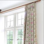 Image 2 of 2 Detail on these three pinch pleat curtains in the stunning @vanessa_arbuthnott_fabrics Pie in the Sky Olive/Sea Pink #modernclassic #classiccountry #modernfarmhouse #englishhome #englishcharm #bath #windows #curtainsdesign #interiors #interiordesigner