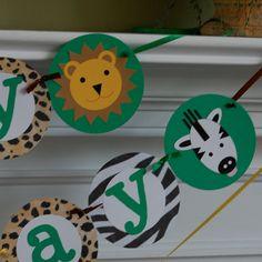 Animal Safari Zoo Birthday Banner by AnyGoodIdeas on Etsy, $20.00