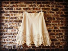 1X Tea Stained Doily Linen Skirt// Spring Summer by emmevielle, $74.00