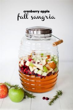 Love this Fall Sangria recipe, made with cranberries and apple cider. Yum!