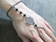 Hand Chain Slave bracelet  Hand Jewelry  Gothic by EarthChildArt